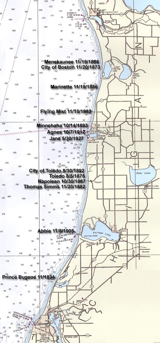 map of lake michigan shipwrecks Map Of Arcadia Area Shipwrecks map of lake michigan shipwrecks